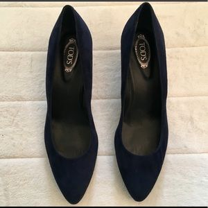 Tod's Shoes - Tod's navy blue suede wedges